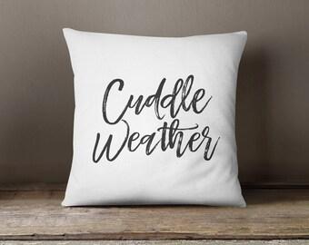 Throw Pillow - Cuddle Weather, Calligraphy, Home Decor, Wedding Gift, Housewarming Gift, Cushion Cover, Throw Pillow, Seasonal Fall Decor