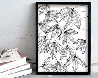 plant illustration, black and white pen print art, nature print poster, illustration, wall art