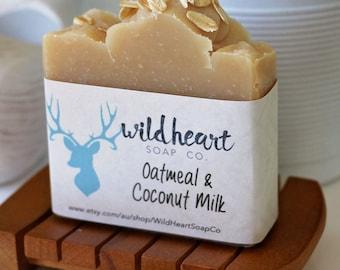 Oatmeal & Coconut Milk Soap Bar - Natural - Handmade - Unscented - Gentle - Organic - Vegan - Soothing