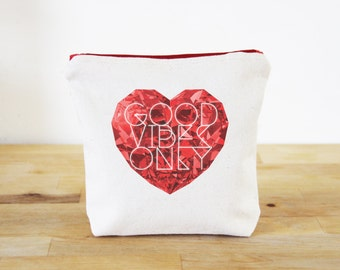 Good Vibes Only Canvas Zipper Everything Pouch