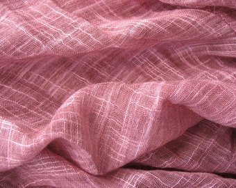 Plum Pink Cotton Slub  Gauze Fabric Scarf Fabric Top Fabric