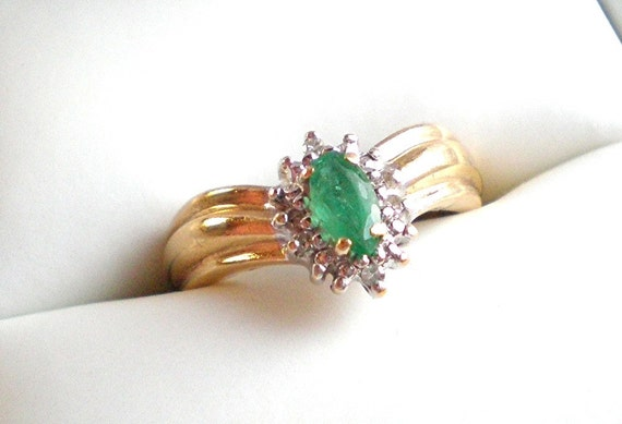 emerald ring marquise cut emerald with accents