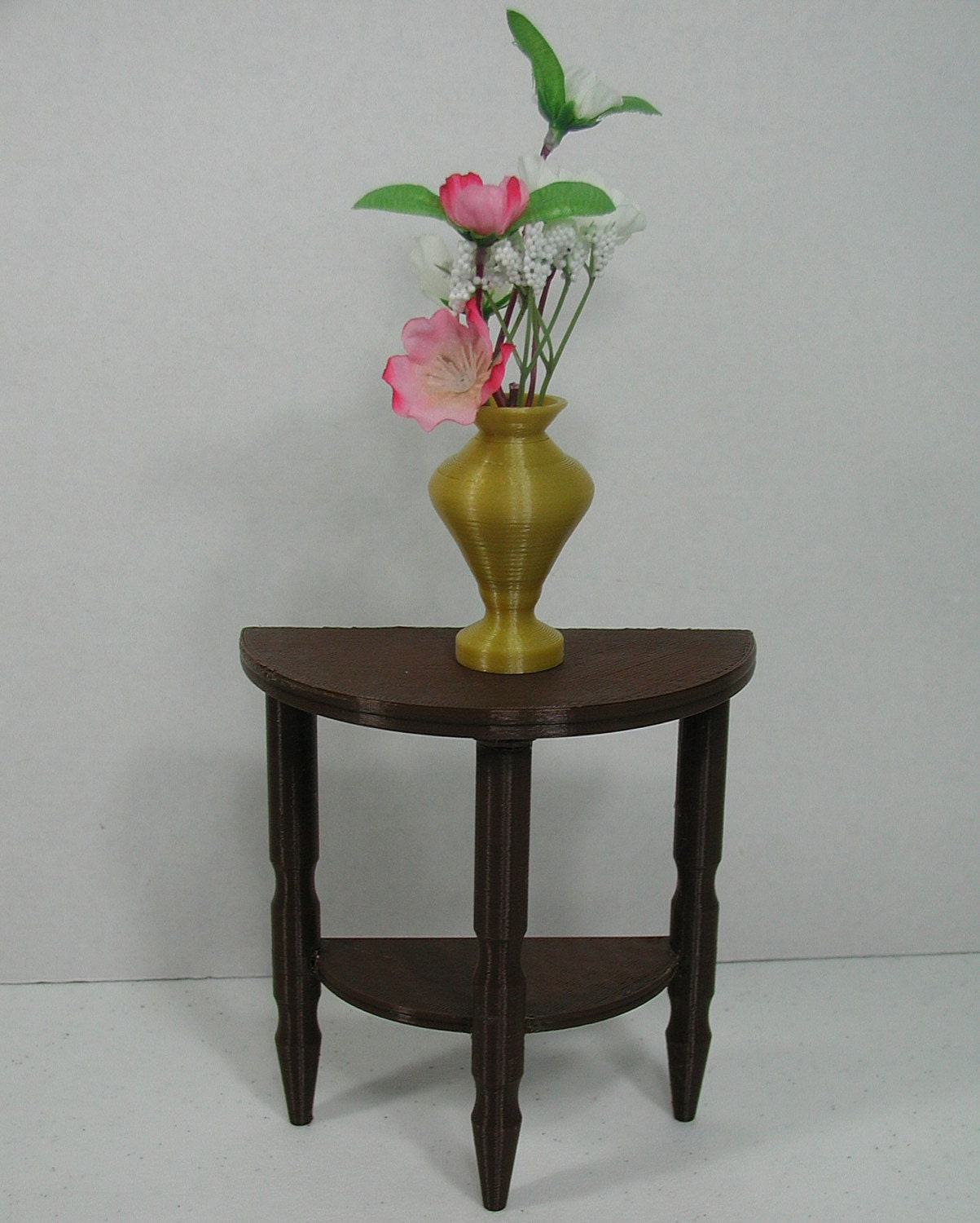 brown half round side table for 12 16 or