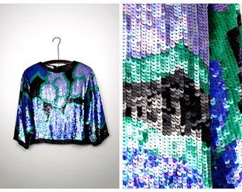 Vintage Glam Sequined Blouse // Trophy Sequin Top // Royal Blue & Purple Floral Silk Top