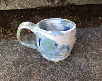 Wheel Thrown Pottery Mug Heavy Cup Spiral Pattern Clay Blue Glaze Signed AS