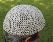 Speckled Brown, Green & White Cotton Crochet Hat, Short Stack Hat, Beanie Hat, Kufi Hat, Skull Cap, Chemo Cap, Bald Head Cover, Helmet Liner