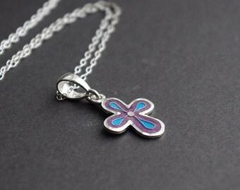 silver cross with jewelry enamel.