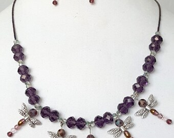 Dragonfly Beaded Necklace and Earrings Set