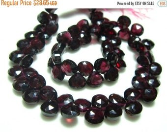 "MEGA SALE Garnet Faceted Heart Briolette- 8"" Strand -Stones measure- 6mm"