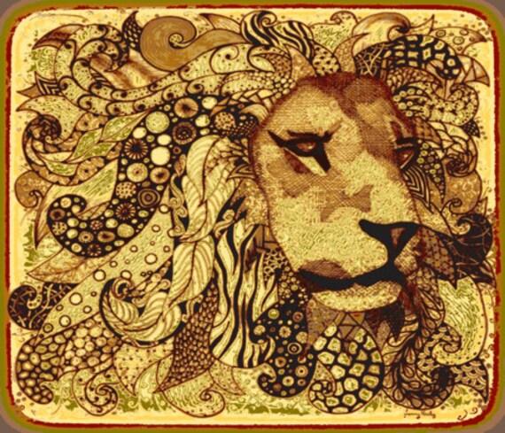 "Lion zen Kalahari 18"" x 21"""