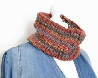Striped eternity scarf, muffler scarf, knitted loop scarf, infinity scarf, cowl neck scarf, circle scarf, knitted cowl, neck warmer scarf