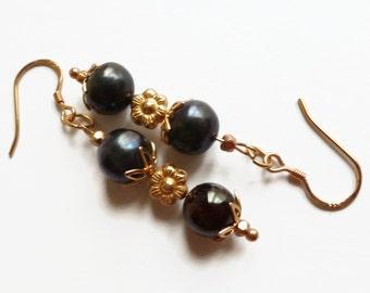 Garnet earrings, rose gold earrings, red earrings, garnet drop earrings, UK shop.