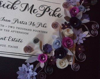 Purple, Blue and Lavander Theme Wedding Invitation Framed Keepsake