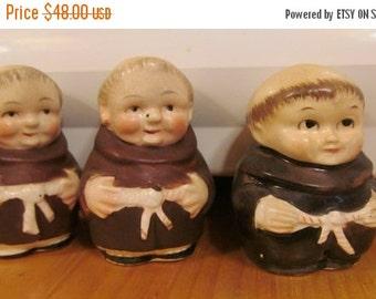 SALE Friar Tuck and Little John Monk Salt & Pepper Shakers Friar Tuck Monk Set Brother Monk Salt and Pepper set