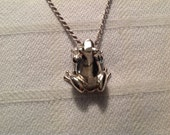 """Vintage Sterling Silver Frog Pendant and 24"""" Chain"""