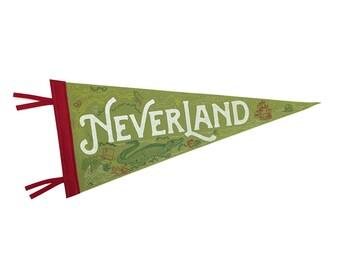 Neverland Pennant - Peter Pan Nursery Decor - Fern Green, Red, Yellow, White