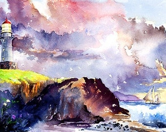 A Voyage's End - Watercolor Painting Print by Michael David Sorensen. Sailboats. Sailing. Lighthouse. Ocean Art. Watercolor Clouds. Purple.