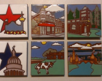 Texas Ceramic Tile Coasters Set, Southwestern Art Tile