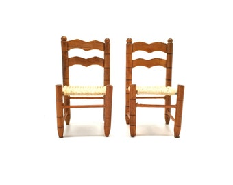 Doll House Furniture, Miniatures, Ladder Back, Straw Seat Chairs, Dining Room, Wood, Handmade, Set of 2, Vintage, 1970's, 2 Side Chairs