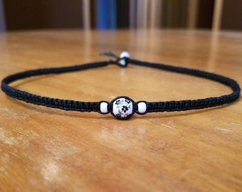 Black and White Necklace Black and White Jewelry Simple Choker Black Choker Necklace Flower Choker Flower Necklace for Her Flower Jewelry