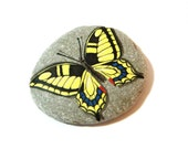 Hand painted rocks butterfly, yellow black papilio glaucus, spring garden decor