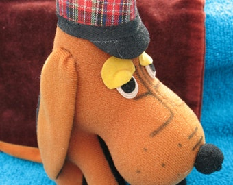 R. Dakin 1960's Dream Pets Brown Felt Detective Basset Hound with stuffing-excellent vintage condition