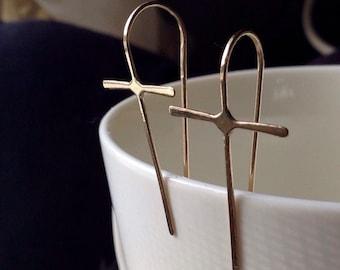CROSS Earrings • 14K solid GOLD Cross Earrings • 14K Gold Metalwork Earrings • Cross Jewelry • Modern Gold Jewelry • gold cross jewelry