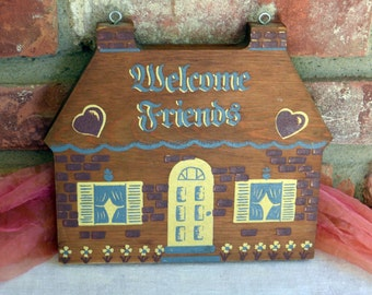 Wood Welcome Sign - Two Sided,  Hand Painted -  Vintage - Fabulous!