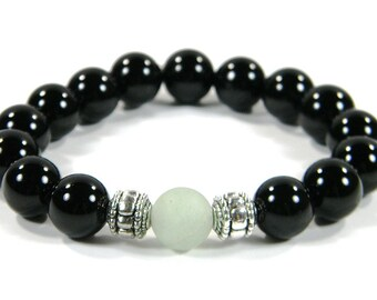 Onyx Beaded Bracelet with Accent Spacers (Handmade in the USA)