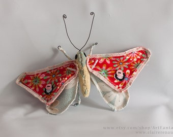 Butterfly #2 - Soft Sculpture - Textile Art - Wall decoration