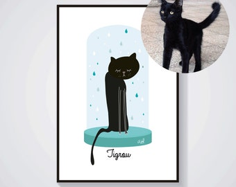 Personalized portrait of your cat with its name and color choices - cat portrait - Printing / A4 Poster - Original gift