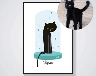 Illustration personnalisée de votre chat avec son prénom et choix de couleur - portrait de chat - Impression / Affiche A4 - Cadeau original