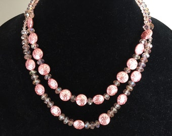 Pearlized and crystal two-strand necklace