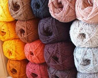 WOOL YARN assorted color mix  17balls + free shipping * fall color collection