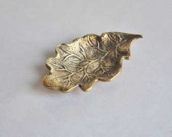 Vintage Brass Oak Leaf Dish