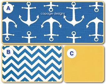 CRIB SKIRT -- Cobalt Blue and Yellow Little Sailor Pleated Crib Skirt / Nautical Crib Skirt / Baby Boy Crib Skirt / Blue Anchor Crib Skirt