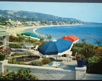 Vintage Postcard Laguna Beach CA, Victor Hugo Inn, Laguna Bay, Umbrellas