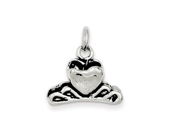 Sterling Silver Antiqued Heart Hair Clip Charm