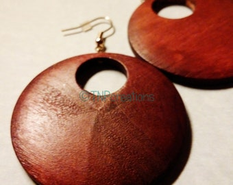 Wooden Hoop Earrings #disc #natural #boho ethnic.