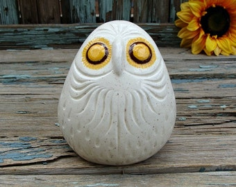 Vintage Owl Figurine Big Yellow Eyes Speckled Off White