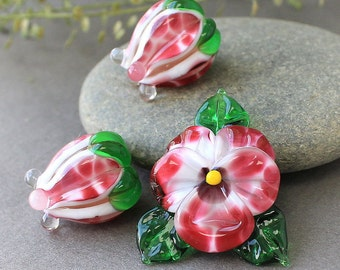 Handmade Lampwork Beads, Set of 3 Glass Beads, Sculpted Pansy Beads, Glass Beads, Floral Lampwork, Lampwork Flower Bead, Lampwork beads