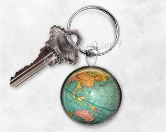 Globe keychain etsy globe keychain world map key chain keyring key fob planet earth travel car accessory gift for sciox Images