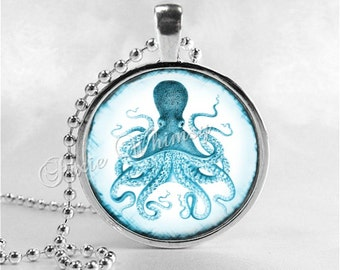 OCTOPUS Necklace, Octopus Pendant, Vintage Octopus, Blue Octopus, Kraken, Octopus Jewelry, Octopus, Steampunk Octopus, Octopus Art,Steampunk