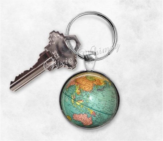 GLOBE Keychain World Map Key Chain Keyring Key Fob Planet – Map World Globe Keyrings
