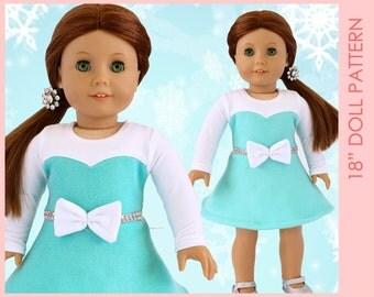 DRESS American girl doll clothes pattern pdf, 18 inch doll clothes sewing pattern pdf, doll clothing pattern, DOLL ELISE