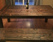 Farmhouse Style Table Set- Dark Walnut Stained