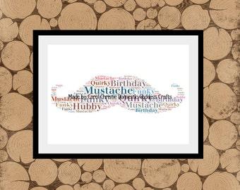 Moustache Word Art,Moustache Word Cloud, Mustache Word Collage,Mustache Word Collage,Gift for Hipster, Personalised Moustache