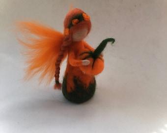 Pumpkin fairy.felted. Wet  felted. Waldorf.Flower child.