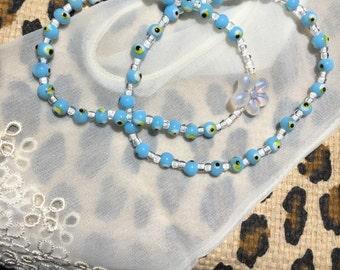 Double Baby Blue evil eye beaded bracelets with flower