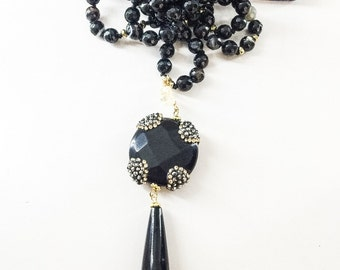 Agate, Onyx and Citrine Lariat Necklace